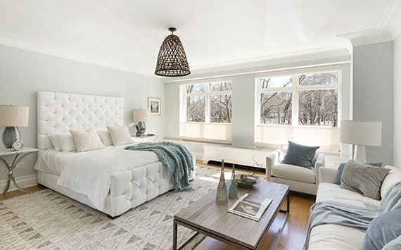 Master bedroom at 15 Central Park West unit 2A