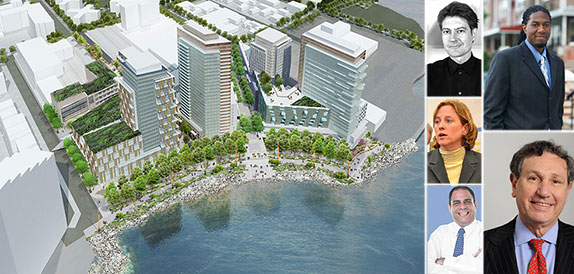 From left: Rendering of Astoria Cove, Jay Valgora, Melinda Katz, Costa Constantinides, Jumaane Williams and Carl Weisbrod