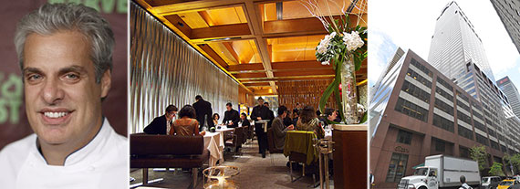 From left: Le Bernadin head chef and co-owner Eric Ripert, the eatery's main dining room and the exterior of 155 West 51st Street