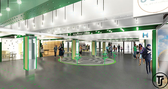 Rendering of the underground Turnstile shopping space beneath Columbus Circle subway station