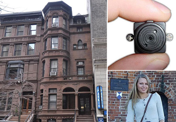 Clockwise: 7 West 82nd Street, a spycamera and Aksana Kuzmitskaya