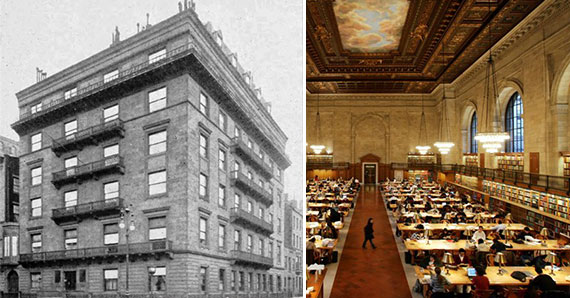 From left: The former Grosvenor Hotel at 35 Fifth Avenue and an interior shot of the New York Public Library