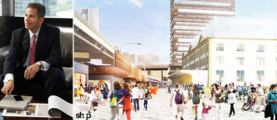 From left: David Weinreb and rendering for the South Street Seaport project