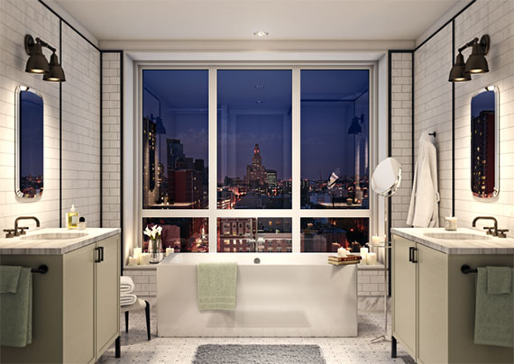 Rendering of a master bathroom at Th Boerum