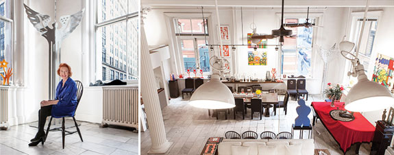 From left: Edwina Sandys and her loft at 565 Broadway
