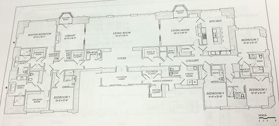 The floor plan for the 49th floor unit at 220 Central Park South (Click to enlarge   Photo: E.B. Solomont/The Real Deal)