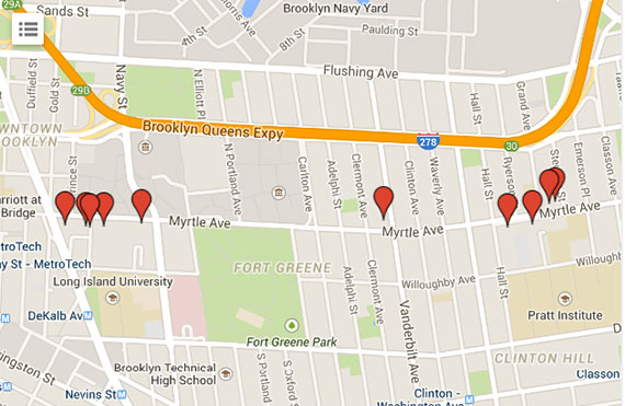 A map of new development on Myrtle Avenue