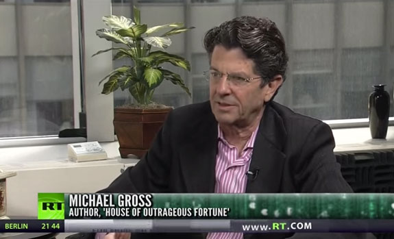 A screen shot of Michael Gross on Russia Today
