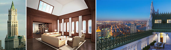 From left: The Woolworth Building and renderings of the 29th floor units in the building (Credit: Williams New York)