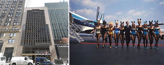 From left: 5 East 59th Street and a 1960s picture of Hugh Hefner and the Playboy Bunnies