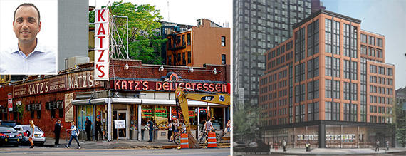 Ben Shaoul (inset), Katz's Deli and a rendering for 196 Orchard Street