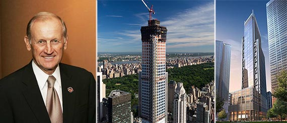 From left: Richard Anderson, 432 Park Avenue and a rendering of 3 World Trade Center (credit: Silverstein Properties)