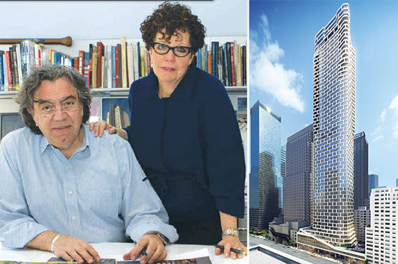 From left: John Cetra and Nancy Ruddy and a rendering of 242 West 53rd Street