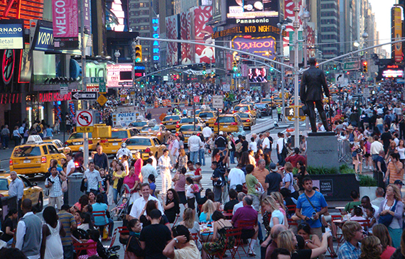 A crowd in Times Square