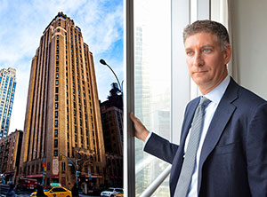 From left: The Beekman Tower at 3 Mitchell Place in Midtown East and Silverstein Properties CEO Marty Burger