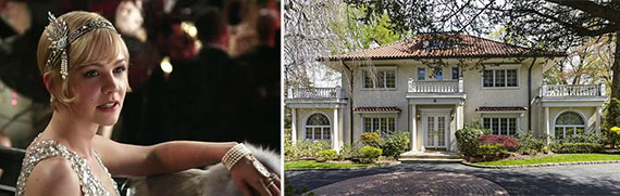 """From left: Carey Mulligan as Daisy in """"The Great Gatsby"""" and F. Scott Fitzgerald's former Great Neck home"""