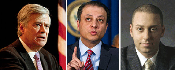 From left: Dean Skelos, U.S. Attorney for the Southern District of New York Preet Bharara and Adam Skelos