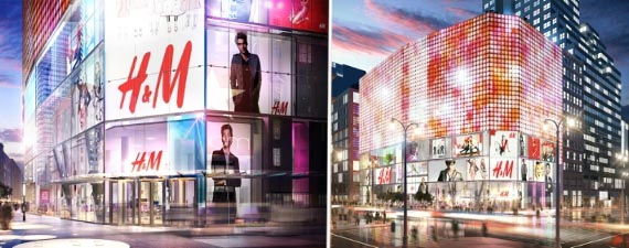 Renderings of H&M's flagship Herald Center store at 1293 Broadway