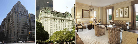 From left: 895 Park Avenue, the Plaza Hotel and unit 607 at the Plaza Hotel