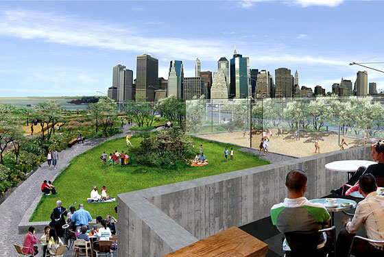 A rendering of the newest stretch of Brooklyn Bridge Park