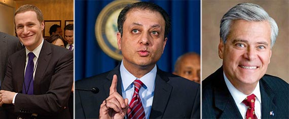 From left: Rob Speyer, Preet Bharara and Dean Skelos