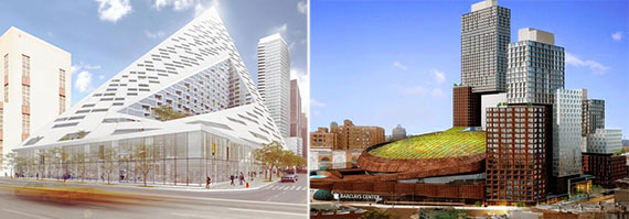 From left: renderings of the Durst Organization's tetahedron on West 57th Street and Pacific Park in Brooklyn.