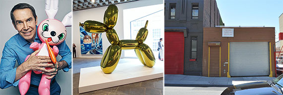 From left: Jeff Koons, Koons' art and 620 West 52nd Street