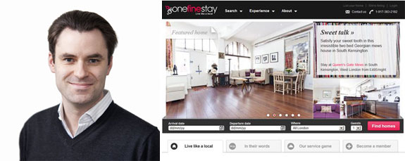 Onefinestay CEO Greg Marsh and a screenshot of onefinestay's website