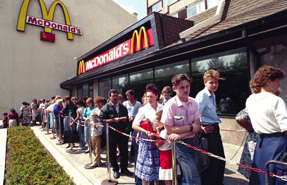 Russians outside a  newly opened McDonald's in 1991 in Moscow.