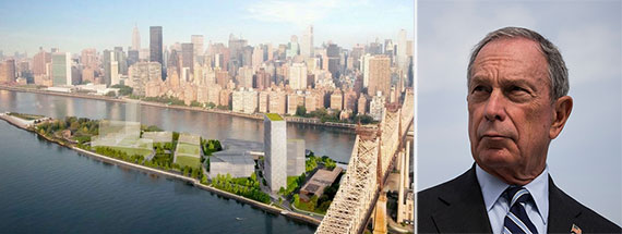 From left: Rendering of the Cornell campus on Roosevelt and Michael Bloomberg