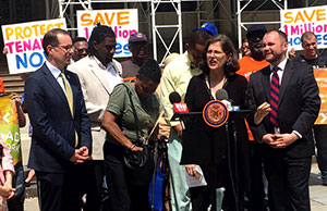Council members Helen Rosenthal, Mark Levine, Jumaane Williams, Andy King, and Corey Johnson call for an end to vacancy decontrol last month