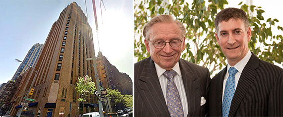From left: The Beekman Tower at 3 Mitchell Place and Larry Silverstein and Marty Burger