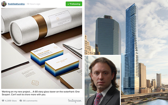 Fredrik Eklund's Instagram and a rendering of One Seaport (credit: Goldstein Hill & West) (inset: Fortis Property Group CEO Jonathan Landau)