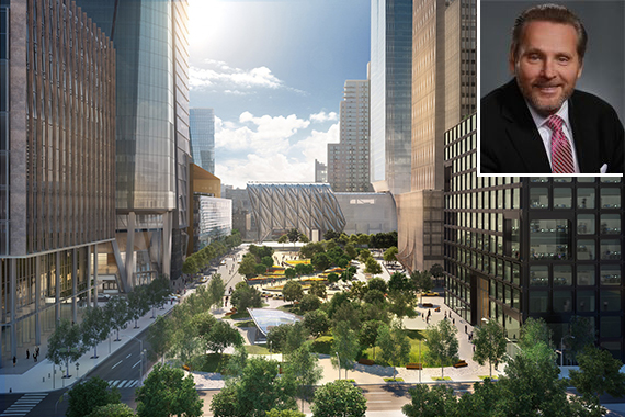 Rendering of Hudson Yards public space (inset: Bob Knakal)