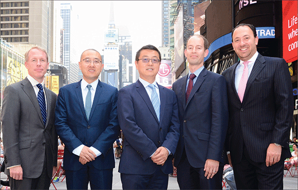 "Kuafu Properties' team now includes, from left: Christopher Sameth, Shang Dai, Zengliang ""Denis"" Shan, Jeffrey Dvorett and Stephen Muller. The company went into contract to buy a $300 million site last month."