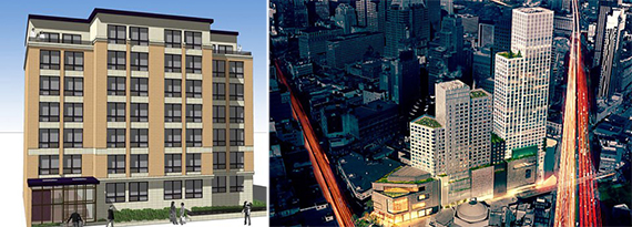 From left: Renderings of 382 Lefferts Avenue and City Point in Brooklyn