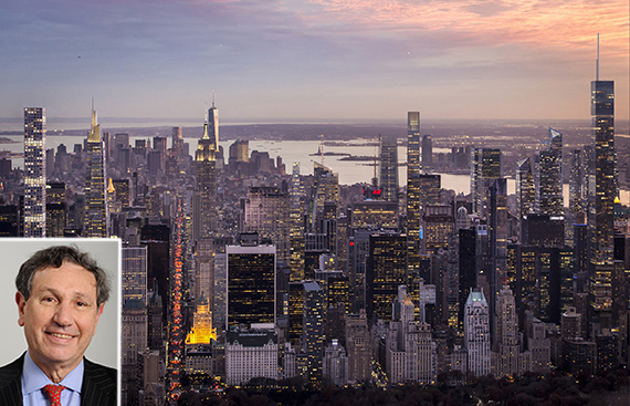 Rendering of Midtown Manhattan skyline in 2030 (credit: VisualHouse) (inset: Carl Weisbrod)