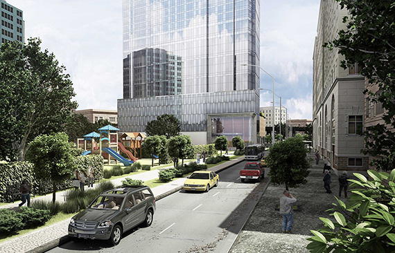 Rendering of Queens Plaza Park in Long Island City (credit: SLCE Architects)