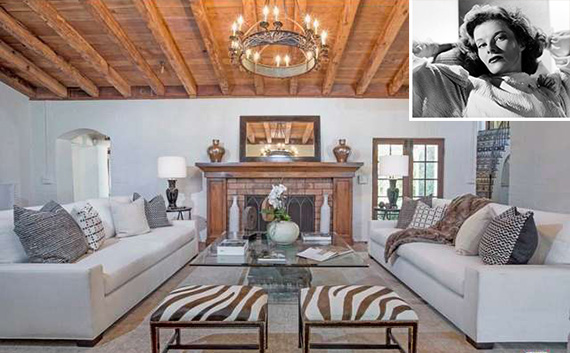 Interior of 2320 Bowmont Drive in Beverly Hills with Katherine Hepburn (inset)
