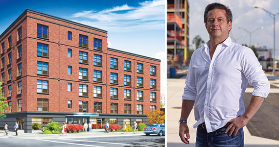 From left: Arker Companies 67-unit housing project for seniors at 533 Bay Street and Ironstate's David Barry