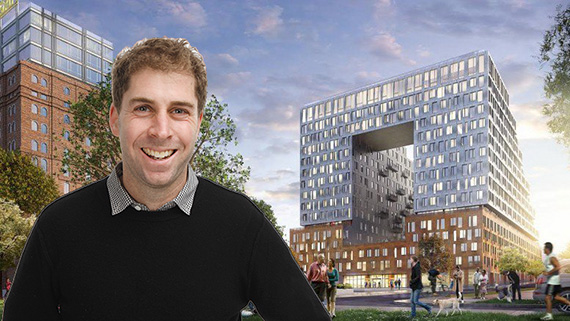 Jed Walentas and a rendering of 325 Kent Avenue (credit: SHoP Architects)