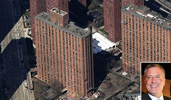 Holmes Towers on the Upper East Side (inset: Mayor Bill de Blasio)