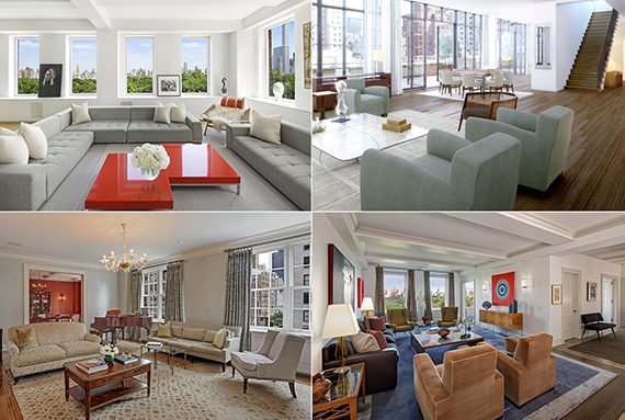 Clockwise from top left: 101 Central Park West, 140 West 12th Street, 262 Central Park West and 620 Park Avenue