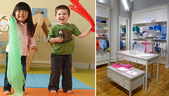 From left: Children playing with scarves at Gymboree and a display at Jacadi