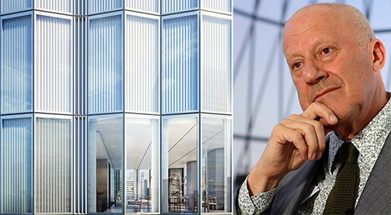 From left: Rendering of 100 East 53rd Street (Credit: Foster + Partners/DBOX) and Sir Norman Foster