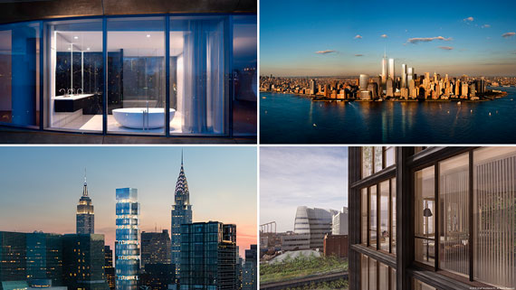 Clockwise from top left: 520 West 28th Street, the World Trade Center complex, 475 West 18th Street and 303 East 44th Street