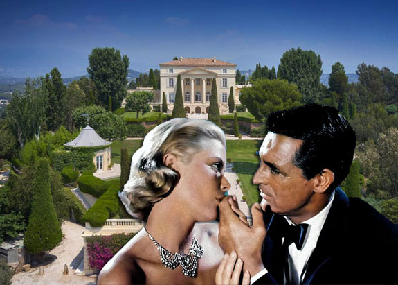"""Grace Kelly and Cary Grant in Alfred Hitchcock's 1955 film """"To Catch a Thief"""" and the chateau featured in the film"""