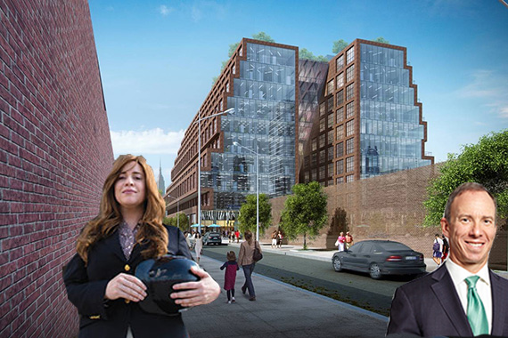 Toby Moskovits, David Rubenstein and a rendering of 25 Kent Avenue (Credit: Lifang)