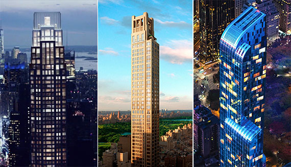 From left: 220 Central Park South, 520 Park Avenue and One57
