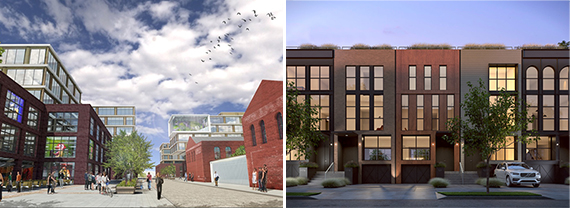 From left: A rendering of Est4te Four at 160 Imlay Street and a rendering of King and Sullivan townhouses at 72-78 Sullivan Street